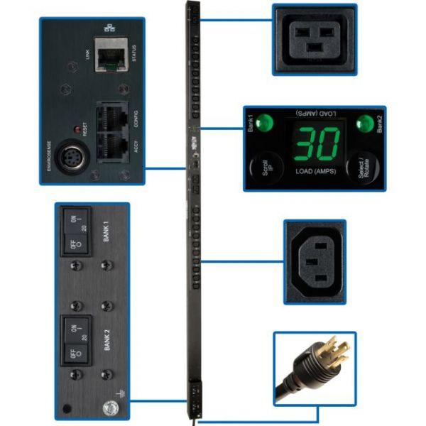 Tripp Lite PDU Switched 208V / 240V 30A 20 C13; 4 C19 Outlet L6-30P 0URM