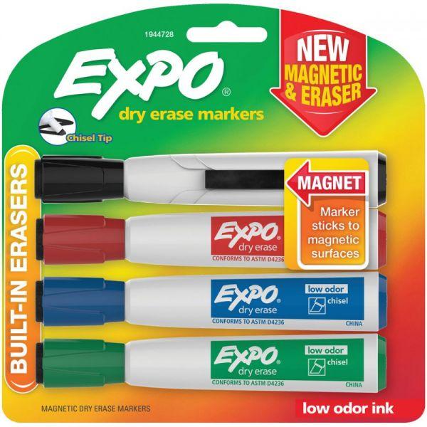 Magnetic Dry Erase Chisel Marker With Eraser 4/Pkg