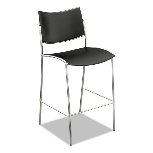 Mayline Escalate Stacking Stool, Plastic Back/Seat, Black, 2 Stools/Carton