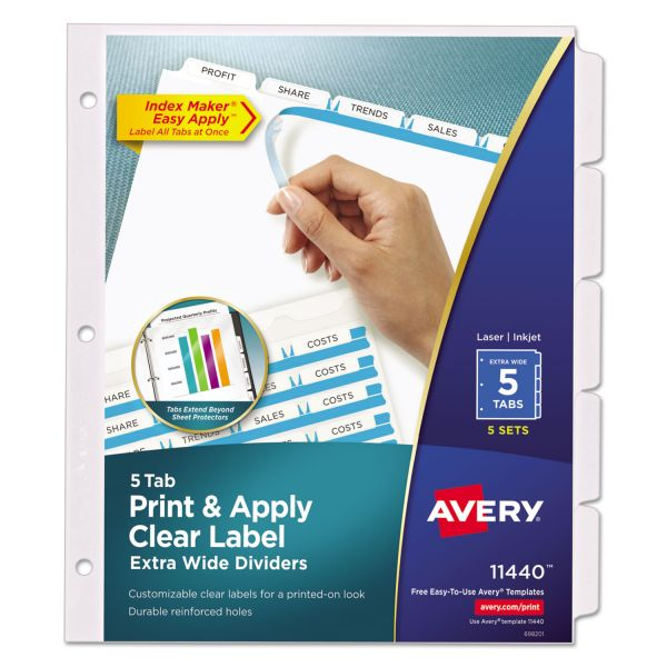 Avery Extra Wide Clear Label 5-Tab Index Maker Dividers