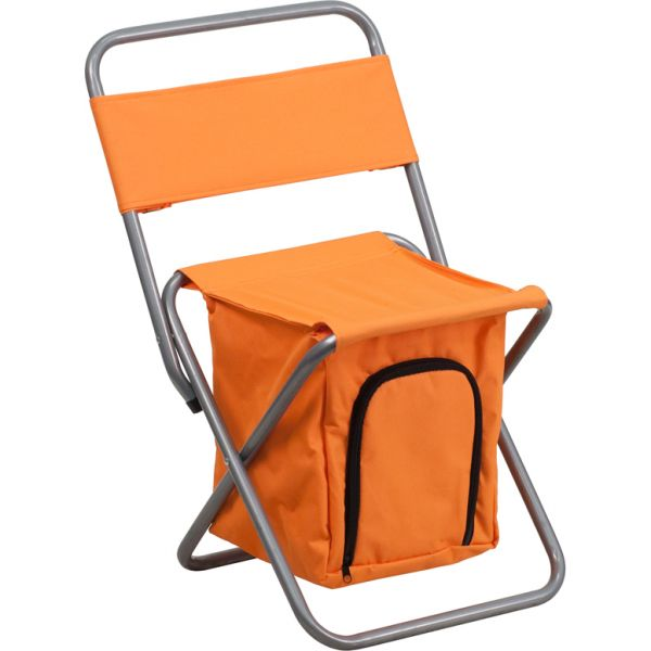 Flash Furniture Folding Camping Chair with Insulated Storage in Orange