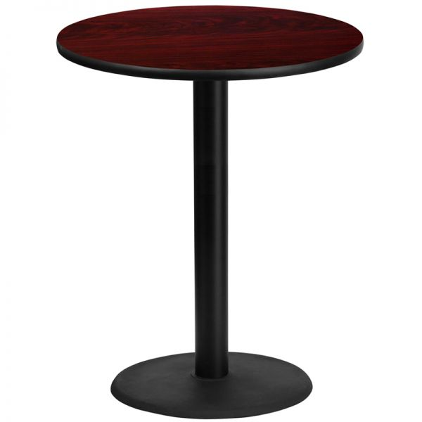 Flash Furniture 36'' Round Mahogany Laminate Table Top with 24'' Round Bar Height Table Base