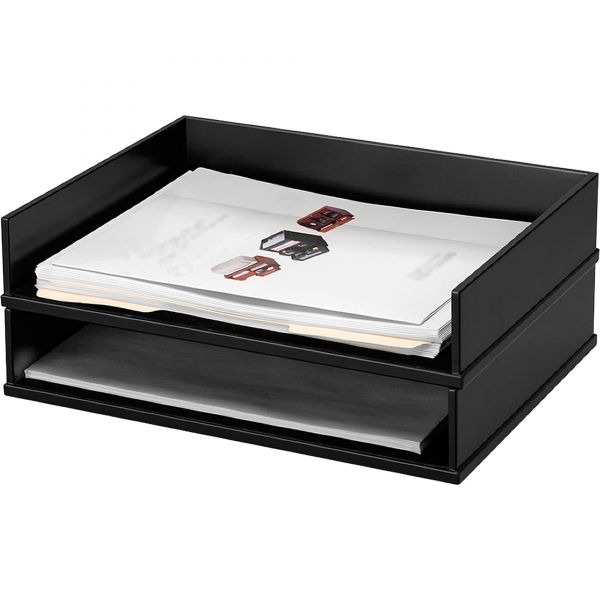 Victor 1154-5 Midnight Black Stacking Letter Tray