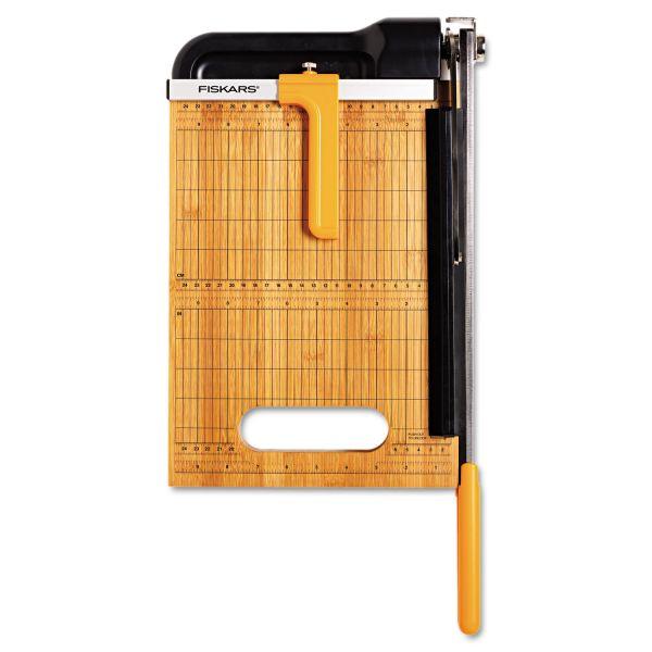 """Fiskars Bypass Bamboo Base 12"""" Paper Cutter"""