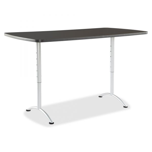 Iceberg ARC Sit-to-Stand Tables, Rectangular Top, 36w x 72d x 30-42h, Graphite/Silver