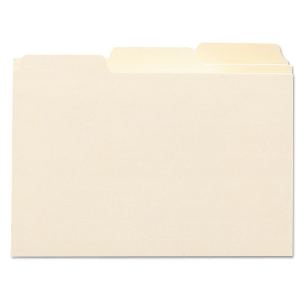 Smead Self-Tab Card Guides, Blank, 1/3 Tab, Manila, 4 x 6, 100 per Box