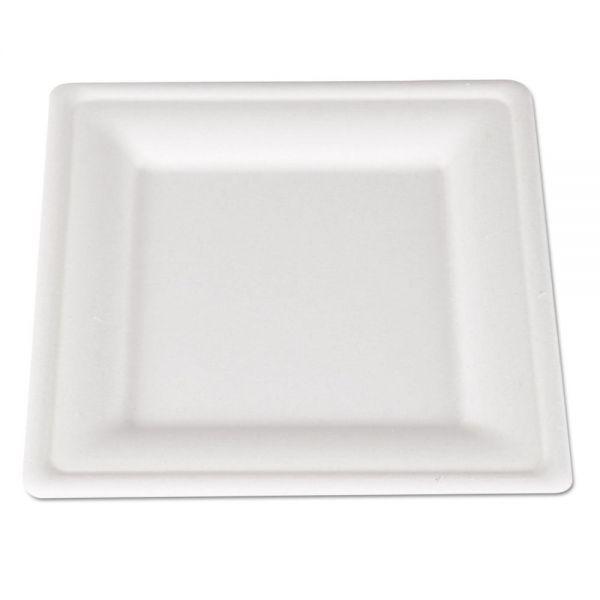 SCT ChampWare Molded Fiber Tableware, Square, 8 x 8, White, 500 per Carton