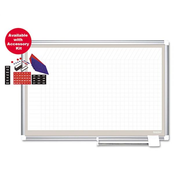 MasterVision Porcelain Dry Erase Planning Board w/Accessories, 1x2 Grid, 72x48, Silver