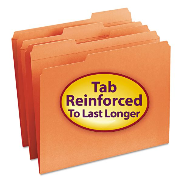 Smead Orange Colored File Folders with Reinforced Tab