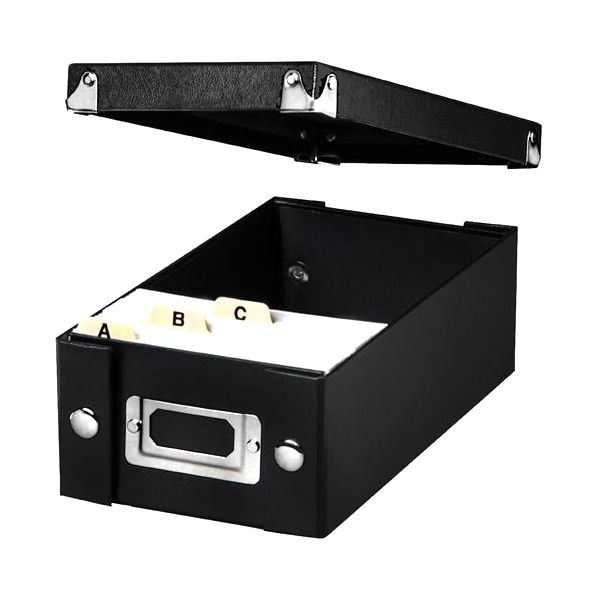 IdeaStream Snap 'N Store Collapsible Index Card File Box Holds 1100 3 x 5 Cards, Black
