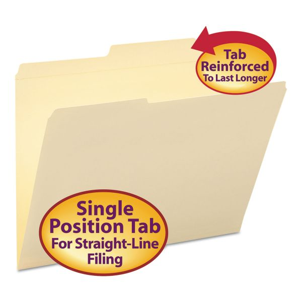 Smead Guide Height Folder, 2/5 Cut Right, Two-Ply Tab, Letter, Manila, 100/Box
