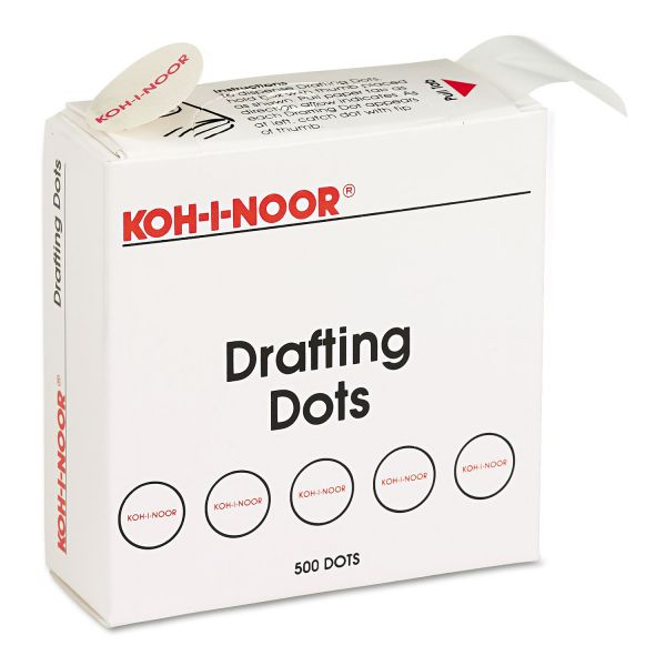 Koh-I-Noor Adhesive Drafting Dots w/Dispenser, 7/8in dia, White, 500/Box
