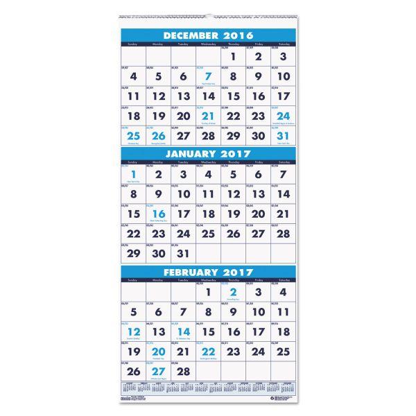 House of Doolittle Vertical 3-Month Wall Calendar