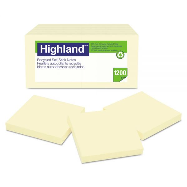 Highland Recycled Self Stick Adhesive Notes