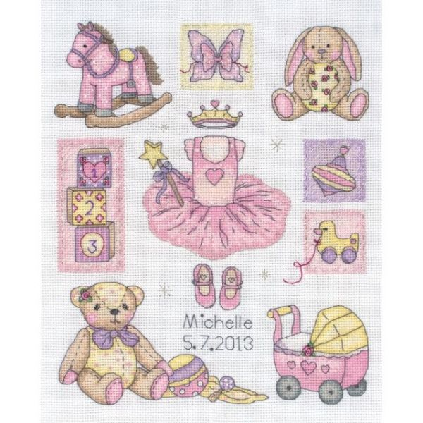 Girl Birth Record Counted Cross Stitch Kit