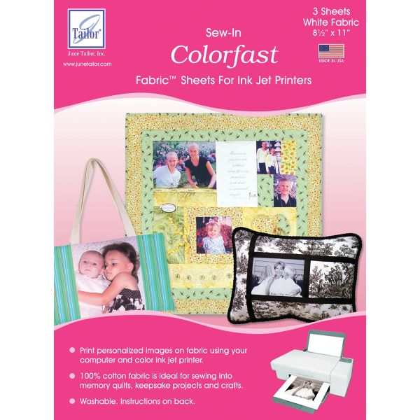 "Colorfast Sew-In Ink Jet Fabric Sheets 8.5""X11"" 3/Pkg"