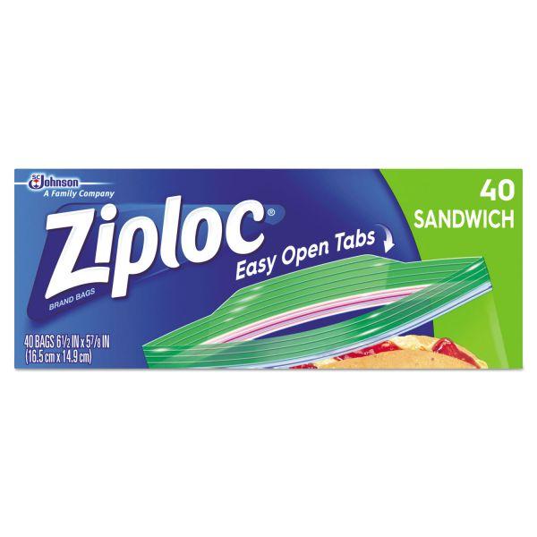 Ziploc Resealable Sandwich Bags, 6 1/2 x 5 7/8, 1.2 mil, Clear, 40/Box, 12 BX/CT
