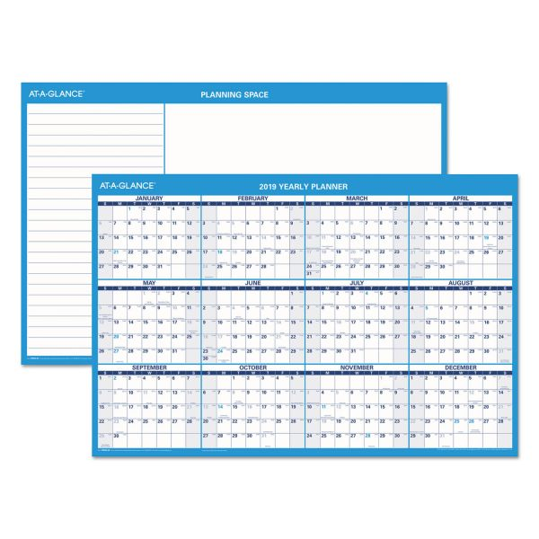 AT-A-GLANCE Horizontal Erasable Wall Planner, 36 x 24, Blue/White, 2019