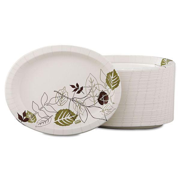 Dixie Ultra Pathways Heavyweight Oval Platters, 8 1/2 x 11, Green/Burgundy, 500/Carton