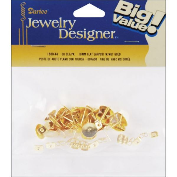 Flat Pad Earring Posts & Butterfly Clutches 10mm 48/Pkg