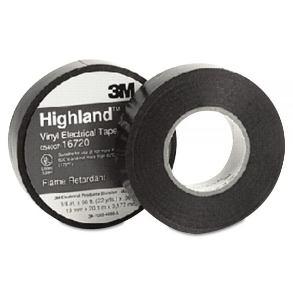 "3M Highland Vinyl Commercial Grade Electrical Tape, 3/4"" x 66ft, 1"" Core"