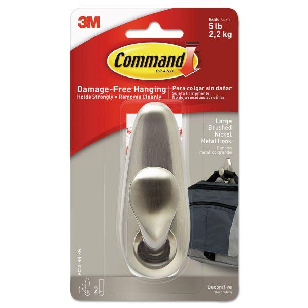 Command Decorative Metal Hooks, Large, Brushed Nickel, 5lb Capacity, 1 Pack