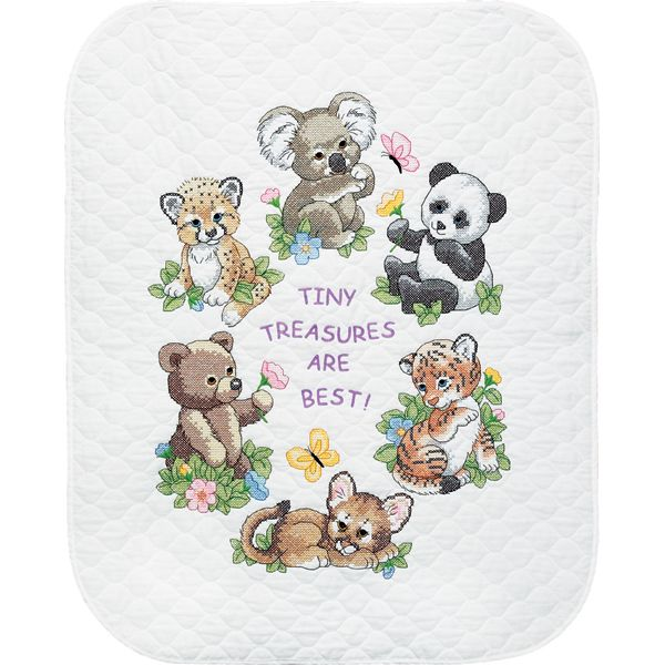 Dimensions Baby Hugs Baby Animals Quilt Stamped Cross Stitch Kit
