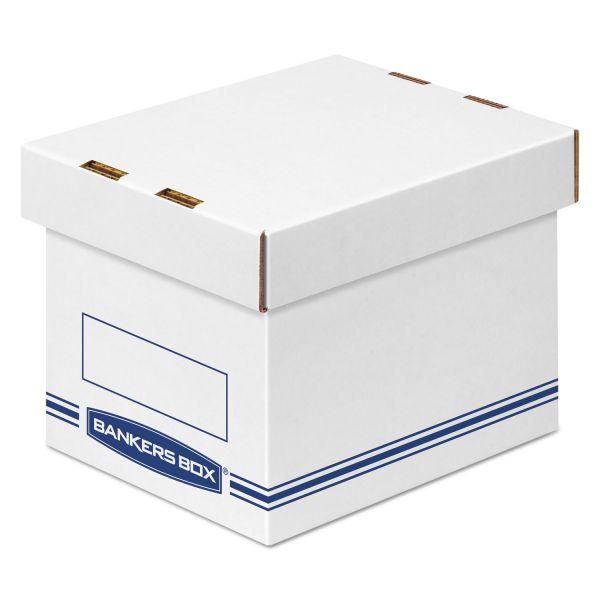 Bankers Box Organizer Storage Boxes, Small, White/Blue, 12/Carton