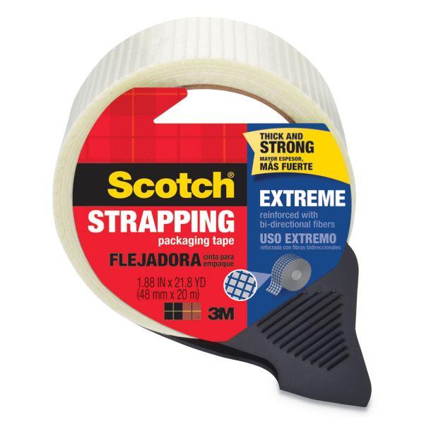 """Scotch Bi-Directional Filament Tape w/Dispenser, 1.88"""" x 21.8yds, 3"""" Core, Clear"""