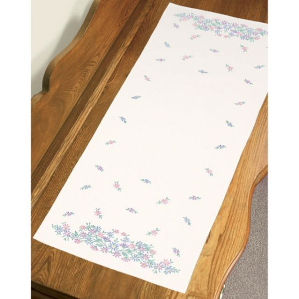 "Stamped Embroidery Dresser Scarf 14""X39"""