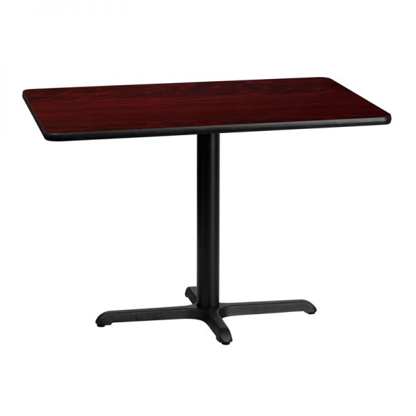Flash Furniture 30'' x 42'' Rectangular Mahogany Laminate Table Top with 22'' x 30'' Table Height Base