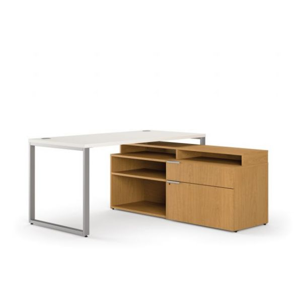 "HON Voi Mixed Material Compact L-Workstation | Desk, Low Credenza Right, Layering Shelf | 60""W x 60""D"