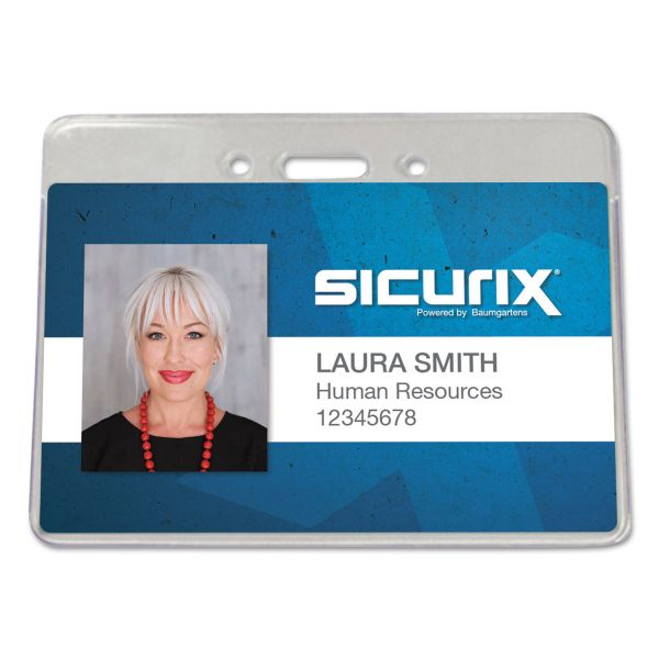 SICURIX Sicurix Proximity Badge Holder, Horizontal, 4w x 3h, Clear, 50/Pack