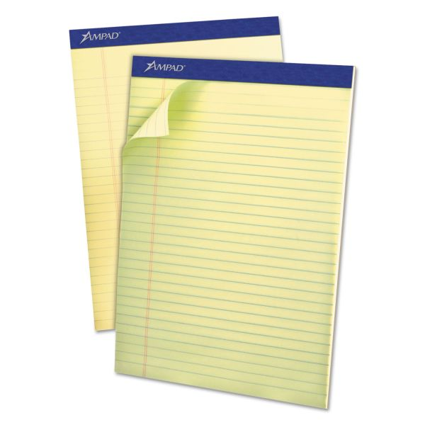 Ampad Pastels Pads, 8 1/2 x 11 3/4, Canary, 50 Sheets, Dozen