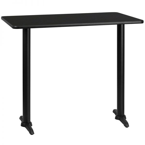 Flash Furniture 30'' x 48'' Rectangular Black Laminate Table Top with 5'' x 22'' Bar Height Table Bases