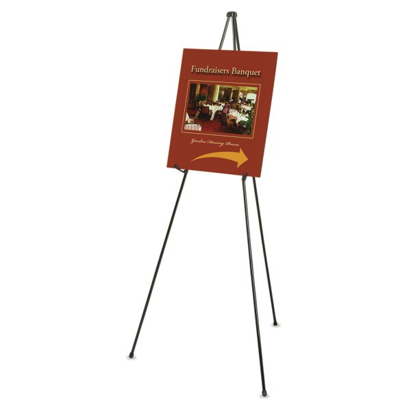 "Quartet Heavy-Duty Adjustable Instant Easel Stand, 25"" to 63"" High, Steel, Black"