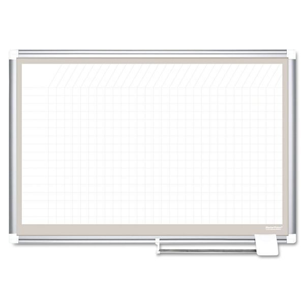 MasterVision All Purpose Porcelain Dry Erase Planning Board, 1x2 Grid, 36x24, Aluminum Frame