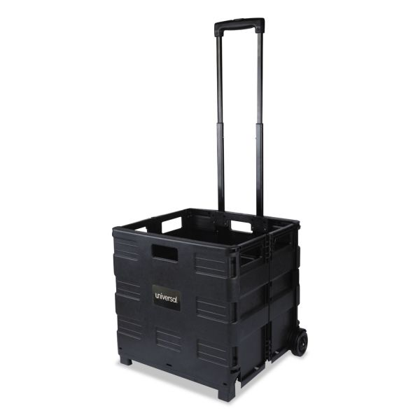 Universal Collapsible Mobile Storage Crate, 18 1/4 x 15 x 18 1/4 to 39 3/8, Black