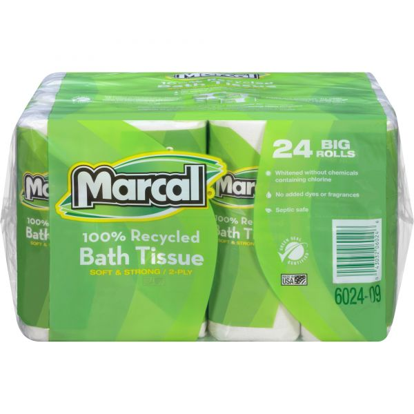 Marcal 100% Recycled Toilet Paper Roll, 2-Ply, White, 3 7/10 x 4 33/100 Sheet, 168 Sheets/Roll, 24 Rolls/Carton