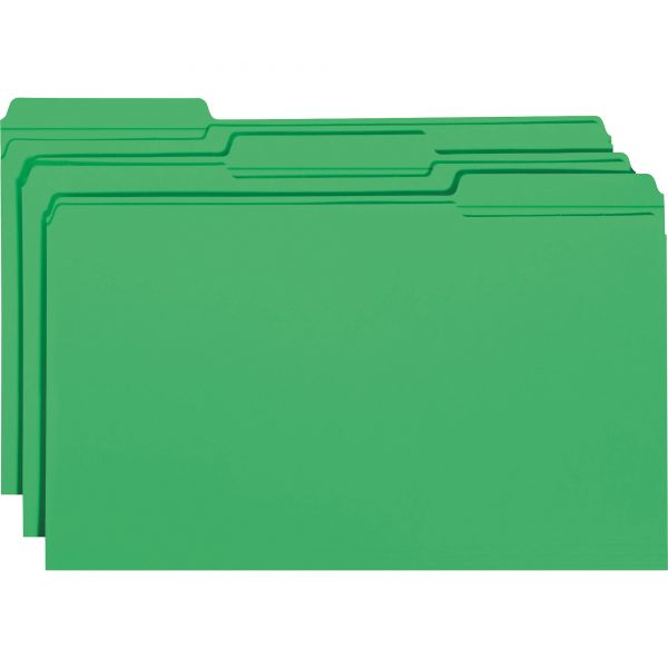 Smead Green Colored File Folders with Reinforced Tab