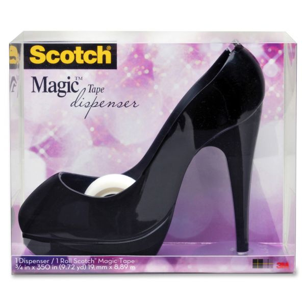 "Scotch Shoe Tape Dispenser, Black High Heel, 1"" Core"