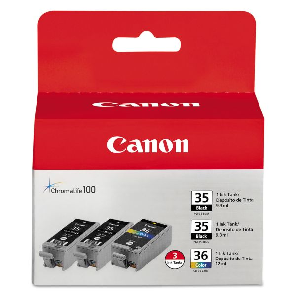 Canon 1509B007 (CLI-36) Ink, Black/Tri-Color, 3/PK