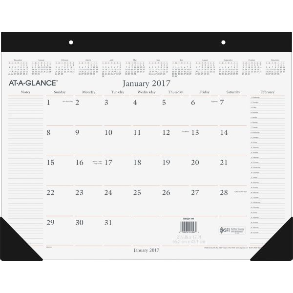 At-A-Glance Executive Monthly Desk Pad Calendar