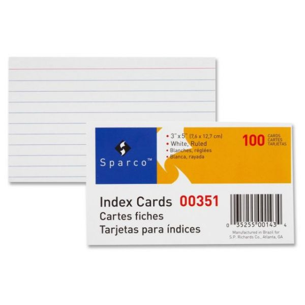 "Sparco 3"" x 5"" Ruled Index Cards"