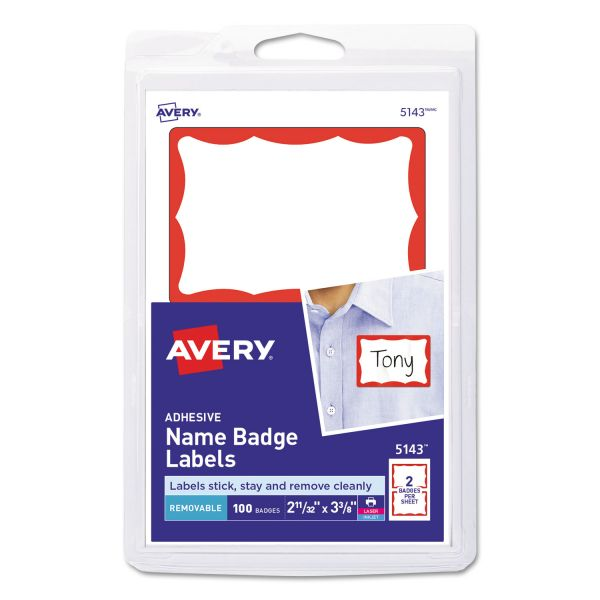 Avery Printable Self-Adhesive Name Badges, 2 1/3 x 3 3/8, Red Border, 100/Pack