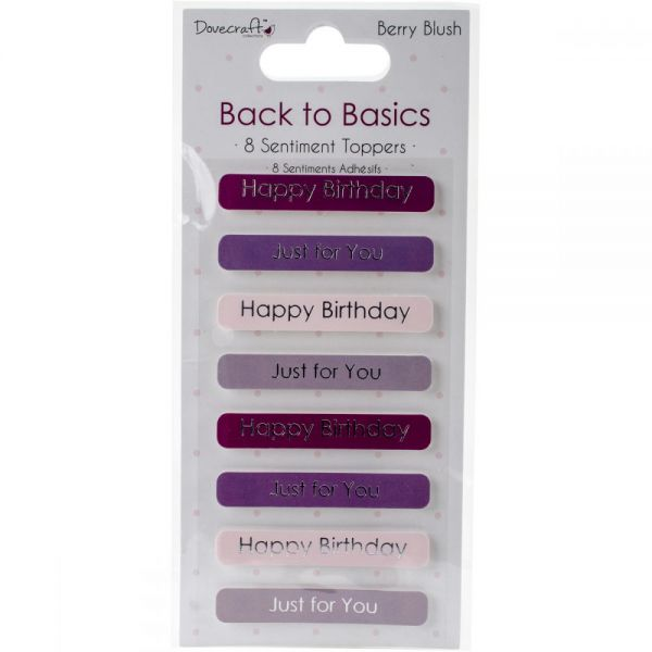 Dovecraft Back To Basics Berry Blush Adhesive Toppers 8/Pkg