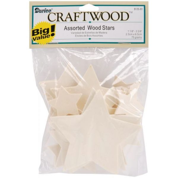 Darice Craftwood Assorted Wood Stars