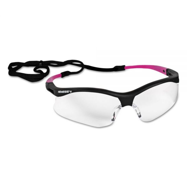 Jackson Safety* V30 Nemesis Safety Eyewear, Small, Black Frame w/Pink Tips, Clear Lens, 12/Ctn