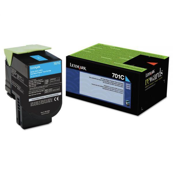 Lexmark 70C10C0 Toner (LEX-701C), 1000 Page-Yield, Cyan