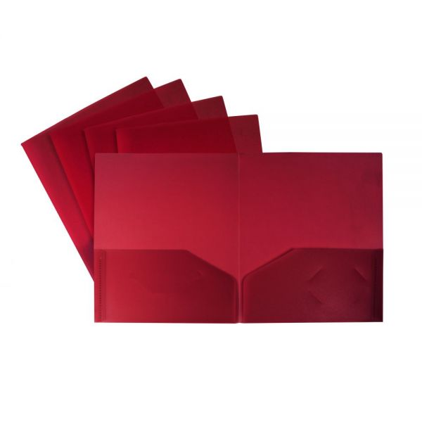 Storex Thicker Poly Red Two Pocket Folders